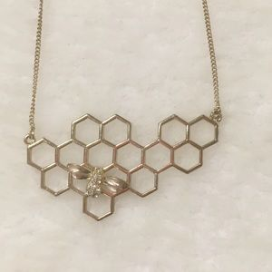 Urbanoutfitters Honeycomb Bee Geometric Necklace